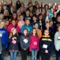 Group picture of all of the girl scouts attending college readiness experience day